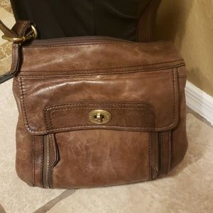 Fossil brown leather crossbody purse vintage